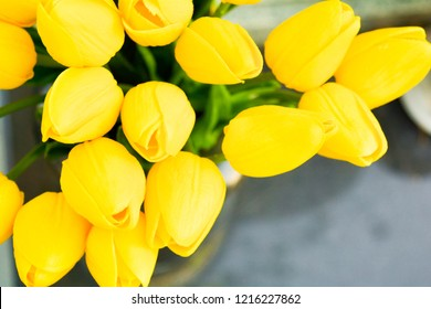 Bouquet of Beautiful Yellow Tulips in Black Stone Vase on Sunny Day