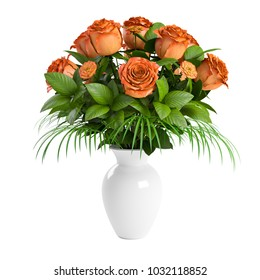 Bouquet of blossoming pink, orange, yellow roses in white ceramic pot isolated on white background. 3D Rendering, Illustration.