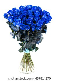 bouquet of blue roses isolate