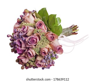 Bouquet for bride isolated on white background. Closeup.
