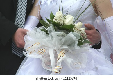 bouquet of the bride from white roses