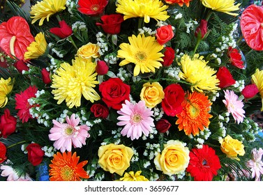 a bouquet of bright assorted flowers