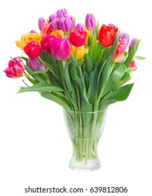 bouquet of bright fresh spring tulips in vase isolated on white background
