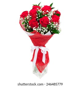 Bouquet of bright red roses in a glass vase isolated on white background. Great present for a valentine's day, wedding, birthday for a woman