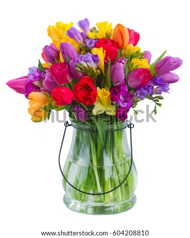 Bouquet Bright Spring Flowers Glass Vase Stock Photo Edit Now