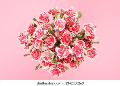 Bouquet of carnation flowers on pastel pink background top overhead view