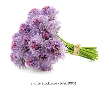 Bouquet of chives flowers on a white background