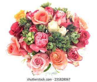 bouquet of colorful assorted roses on white background. soft design. selective focus