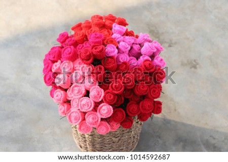 Bouquet Colorful Crochet Roses Basket On Stock Photo (Edit Now ...