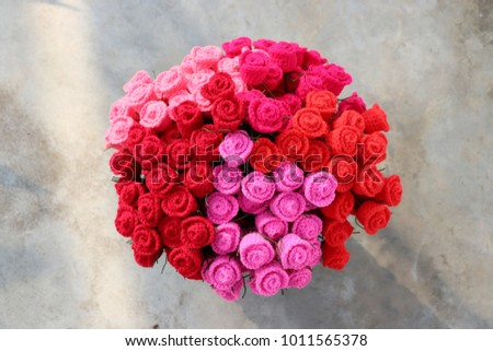 Bouquet Colorful Crochet Roses On Cement Stock Photo (Edit Now ...