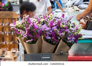 Bouquet colorful flowers Limonium or Statice (sea-lavender, caspia or marsh-rosemary)