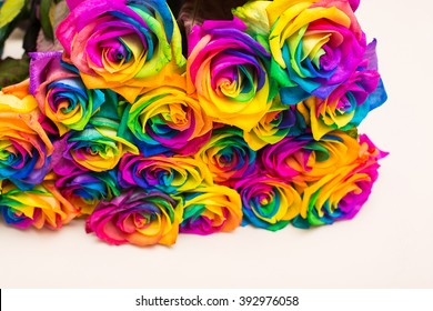 Bouquet of colorful roses. Beautiful design of different kind of flowers.