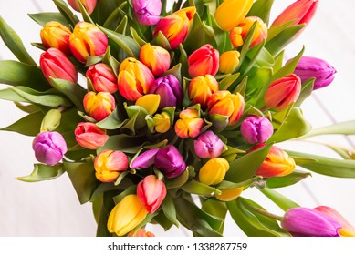 Bouquet of colorful tulips. Spring flowers