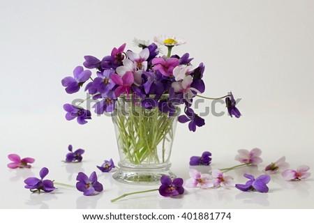 Bouquet Colorful Viola Flowers Vase Flower Stock Photo Edit Now