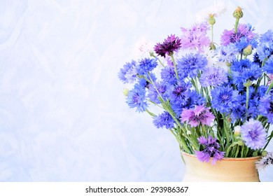 bouquet of cornflowers, background for text