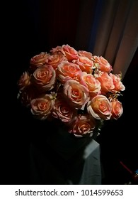 Bouquet of cream and pink roses. Happy Valentine's Day