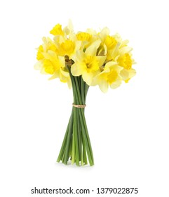 Bouquet of daffodils on white background. Fresh spring flowers