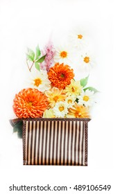 bouquet of dahlias in an envelope. suitable for greeting cards.