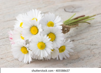 Bouquet of daisies on white wooden background