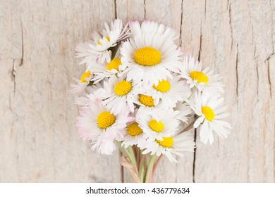 Bouquet of daisies on wooden background