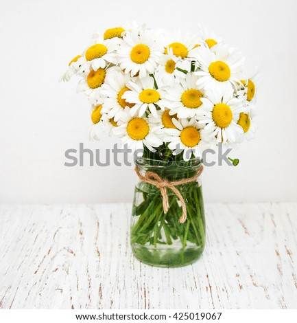 Bouquet Daisies Vase On Old Wooden Stock Photo Edit Now 425019067