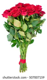 Bouquet of dark red rose buds with green leaves isolated on white background