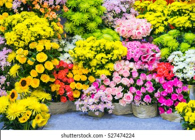 Bouquet decorate in front of flower shop