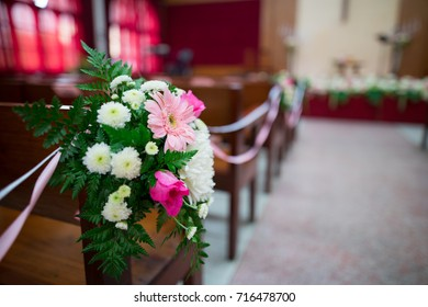 bouquet decorated in a christian wedding.