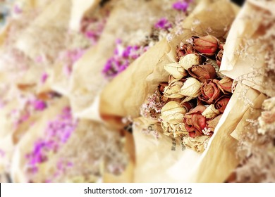Bouquet of dried flowers rose