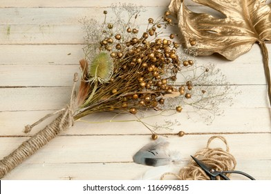 Bouquet Dried golden Flax Bunch still life, Baby Breath dried flower bouquet Gypsophila Rustic home decor dried flower arrangement