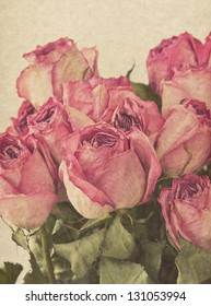 bouquet of dried pink rose vintage
