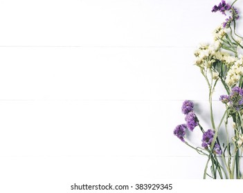Flower white background images stock photos vectors shutterstock bouquet of dried wild flowers on white table background with natural wood vintage planks wooden texture mightylinksfo