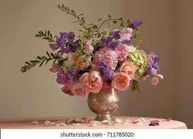 Bouquet of english roses, sweet pea  and hydrangea