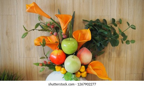 Bouquet and fake fruit