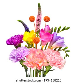 Bouquet flower freesia, carnation, craspedia and veronica isolated on white background. Beautiful composition for advertising and packaging design in the business. Flat lay, top view