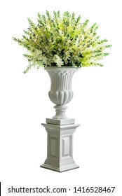 Bouquet of flower in vintage concrete vase for home decoration isolated on white background