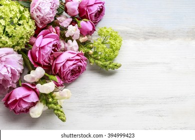 Bouquet of flowers, copy space. Blank space for greetings.