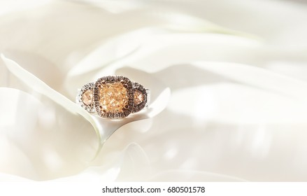 Bouquet of flowers with diamond ring