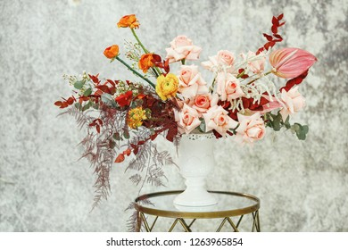 Bouquet of flowers. Flower composition on a rustic background. Beautiful flowers on rustic style.
