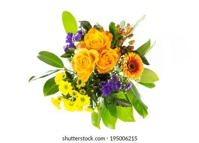 bouquet of flowers green orange
