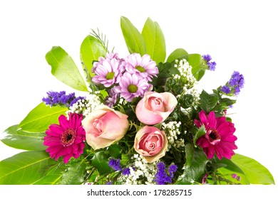 bouquet of flowers green pink 5