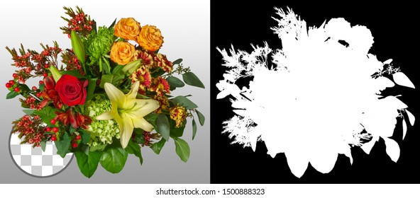 Bouquet of flowers isolated on transparent background via an alpha channel of great precision. Very high quality mask without unwanted edge. High resolution for professional composition.