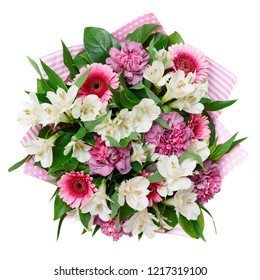 Bouquet of flowers isolated on white background, shot from above