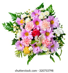 bouquet of flowers is isolated on white background, closeup