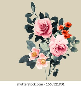 Bouquet of flowers and leaves with roses, anemones and bignonia. Neutral colour background