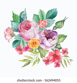 bouquet of flowers and leaves.watercolor
