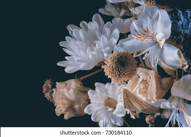 bouquet of flowers on a black background. flower composition.