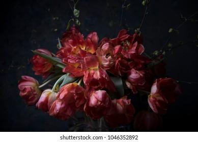 bouquet of flowers on dark background