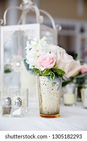 bouquet of flowers on a wedding table