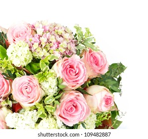 bouquet of flowers. pink roses over white background